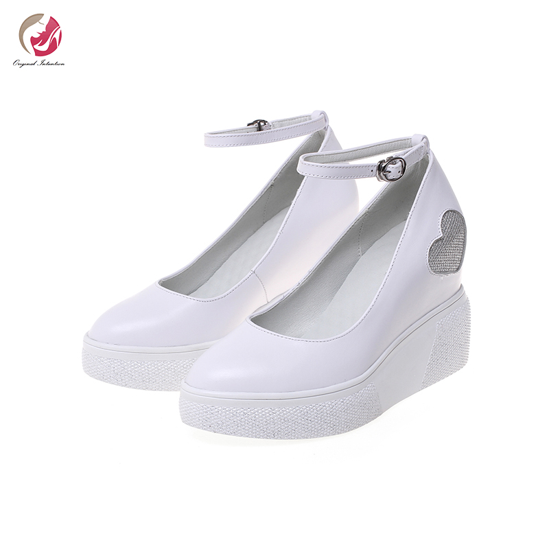 Original Intention New Stylish Super Wedges Black White Genuine Leather Pumps Woman Sweety Round Toe Elegant Lady Party Shoes