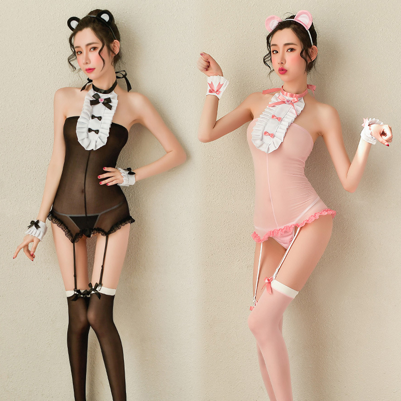 Sexy Bear Lingerie Set Maid Uniform Porno Transparent Erotic Underwear Women Bow Stockings Cosplay Babydoll Costumes Sex Adult image