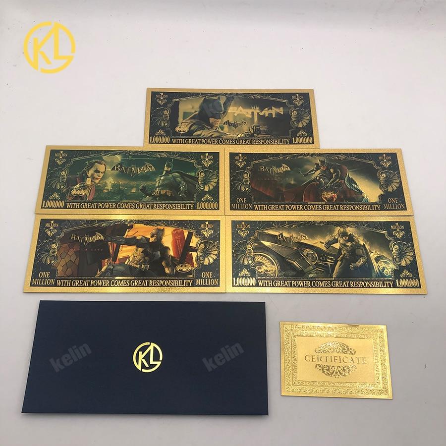 Novos 5 tipos 1 milhões de dólares dos eua bat ouro notas herói cartões como presente de natal ou decoração de casa