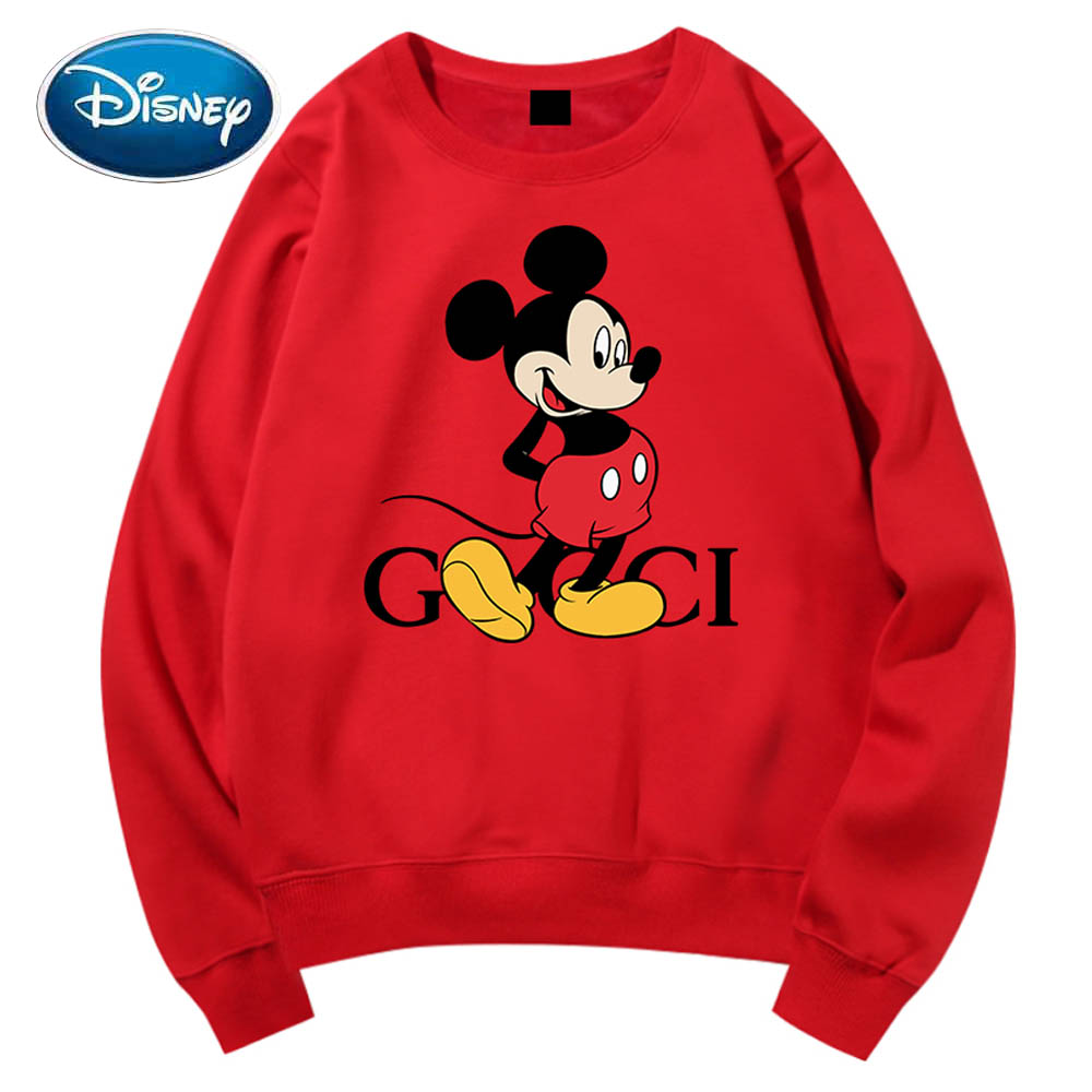 Disney Sweatshirt Chic Fashion Mickey Mouse Cartoon Letter Print O-Neck Pullover Couples Unisex Women Long Sleeve Tops 6 Colors