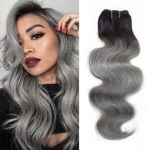 Image 5 - MOGUL волосы, один кусок, только T 1B темно серый цвет, волнистые волосы для наращивания, Омбре, бразильские волосы Remy, пучки человеческих волос, 10 18 дюймов