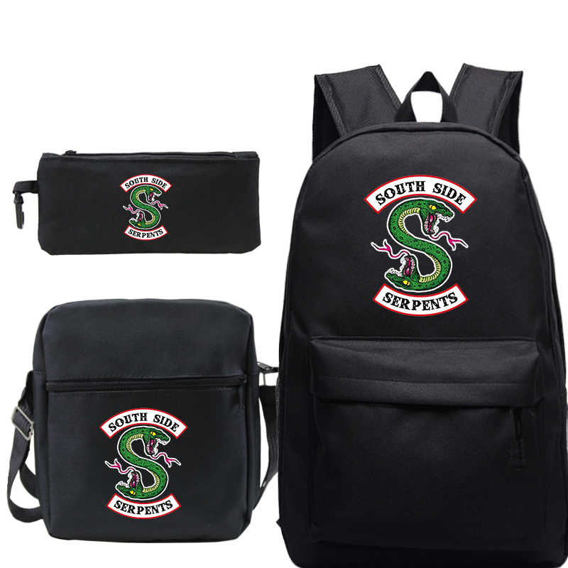 Riverdale South Side 3pcs/set Mochila Bag Women Men's School Bag fashion Travel Bag Laptop Bagpack with Crossbody Bag Pen Bags