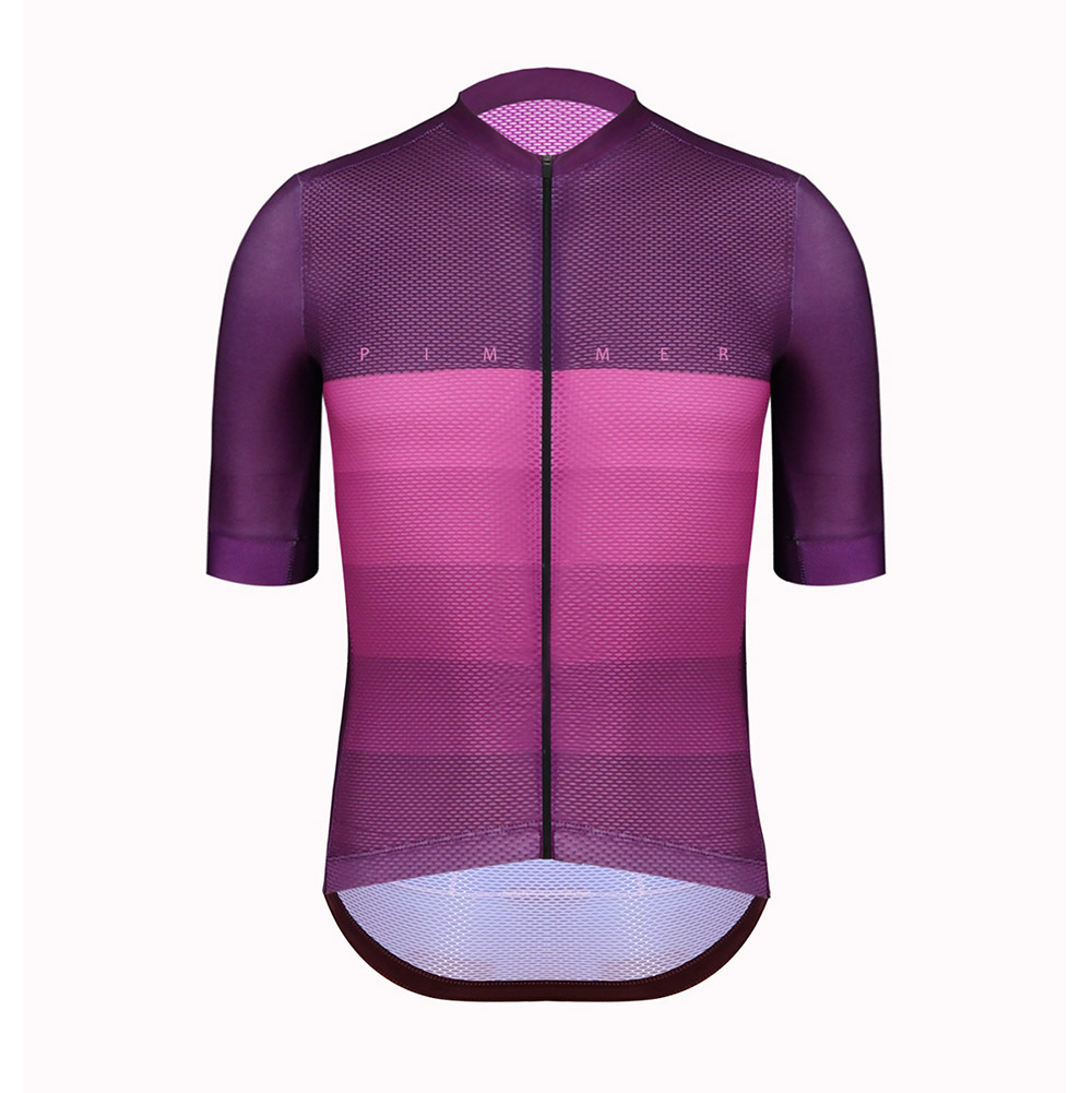 pimmer 2019 summer climber Lightweight cycling jersey short sleeve cycling gear open cell mesh fabric with italy power band purp
