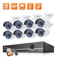 Techage 8CH 1080P NVR 키트 POE 보안 야외 방수 카메라 시스템 2MP 오디오 IP 카메라 IR 컷 CCTV 비디오 감시 세트