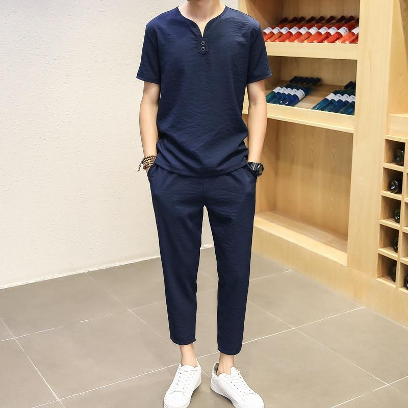 Summer Men's Cotton Linen Leisure Suit MEN'S Short-sleeved T-shirt And Capri Pants Men's Korean-style Fashion Slim Fit Thin Men'