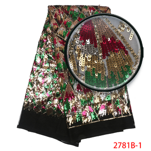 Image 5 - Fashion African Tulle Lace Fabrics with Sequins High Quality Nigerian Net Lace for Bridal Material Sequins Lace Fabrics APW2781B