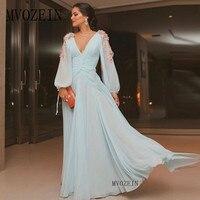 Elegant Light Blue Long Evening Dresses Chiffon Full Sleeves Evening Dress A Line Party Dress Floor Length Formal Gowns