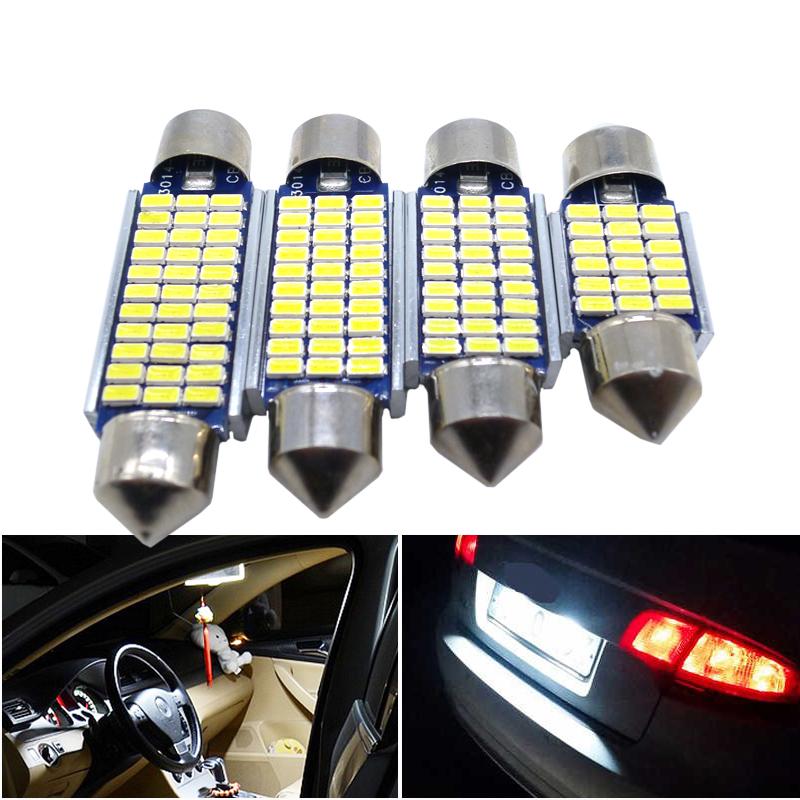 4x Festoon Canbus LED bulb 31mm 36mm 39mm 41mm C5W C10W Auto Dome Light Car Vanity Lamp license plate light Car Styling White