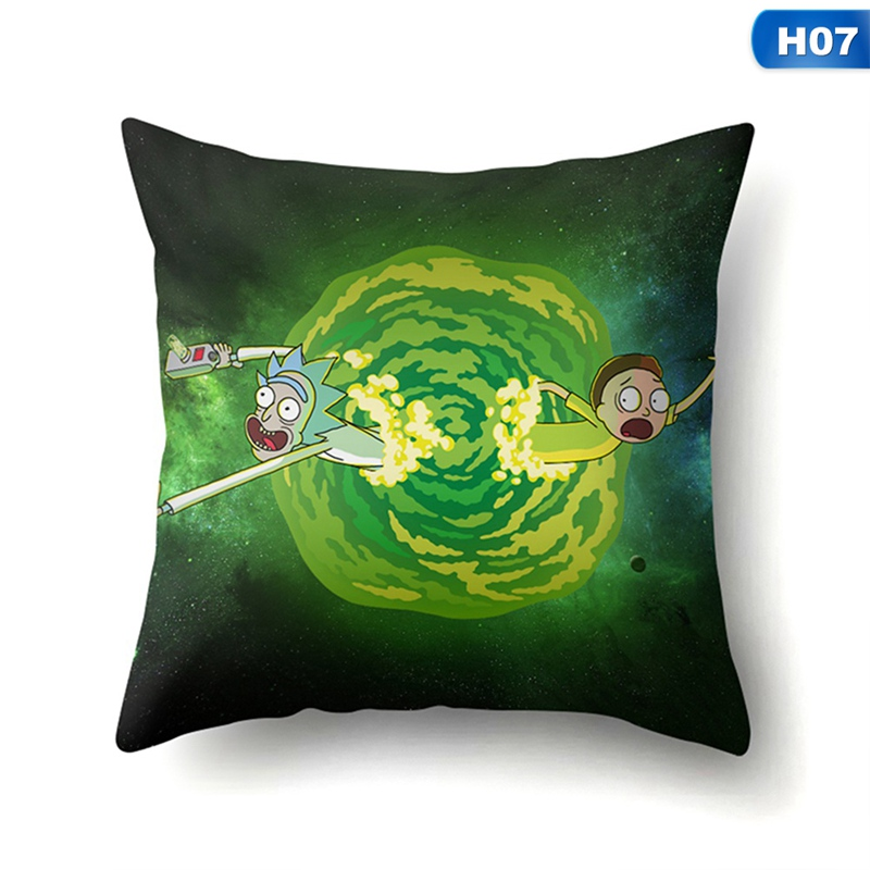 Rick And Morty Season Pillow Cover Bedroom Home Office Decorative Pillowcase Square Zipper Pillow cases Satin Soft No Fade