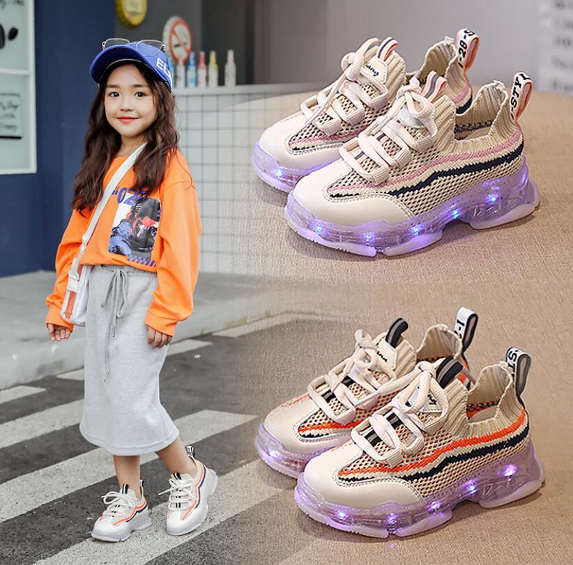 Anxinke Little Boys Girls Casual LED Lighting Athletic Shoes