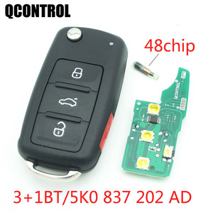 QCONTROL 3+1 BTCar Remote Key 433MHz for VW/VOLKSWAGEN Beetle/Caddy/Eos/Golf/Jetta/Polo/Scirocco/Tiguan/Touran/UP 5K0 837 202 AD
