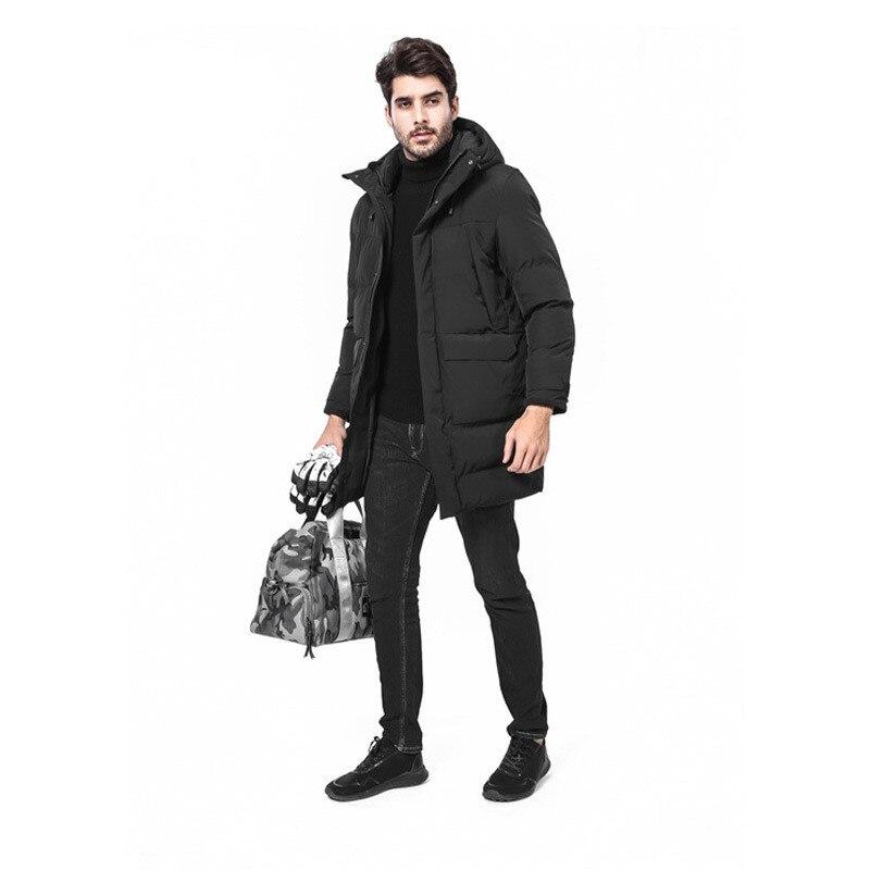 Новинка 2019, мужское хлопковое пальто, Мужская зимняя длинная толстая куртка с капюшоном, свободная повседневная Толстая черная куртка, боль... - 3