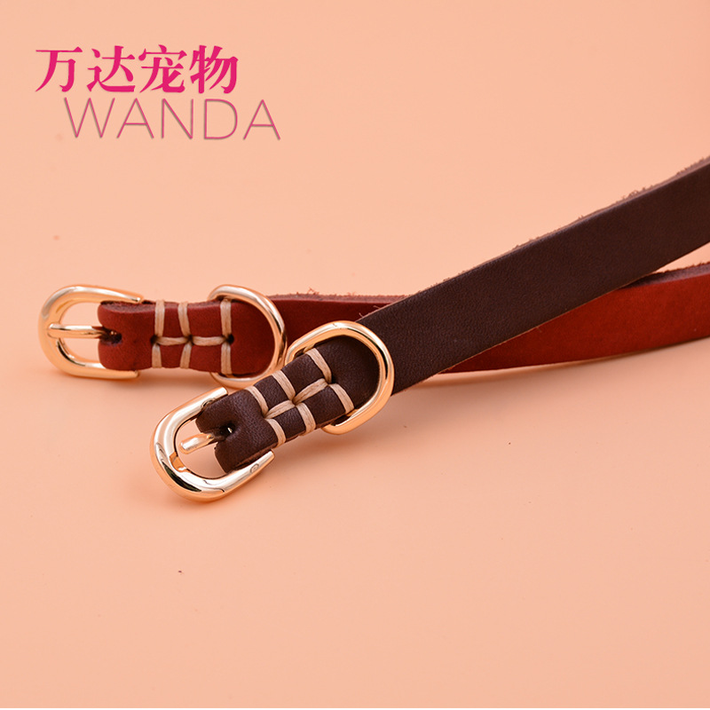 Cowhide Puppy Dog Neck Ring Genuine Leather Small Collar Cat Cats Teddy Pomeranian Bichon Schnauzer Bite-proof Protector