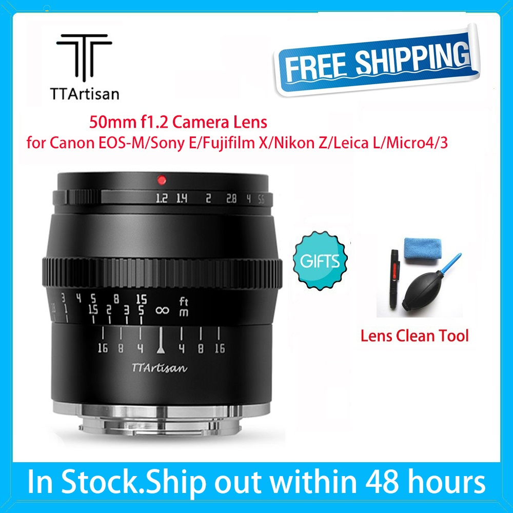 TTartisan 50mm F1.2 Macro DSLR Camera Lens For Sony E Canon EOS-M Fujifilm X Nikon Z Leica L Micro 4/3 Photography Photo Studio
