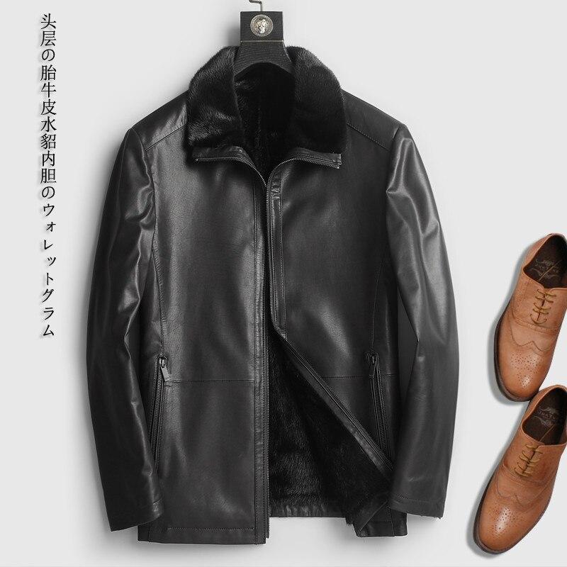 Genuine Cow Leather Jacket Men Natural Mink Fur Liner Winter Cowhide Leather Jackets Luxury Mens Mink Coat 418c KJ1280