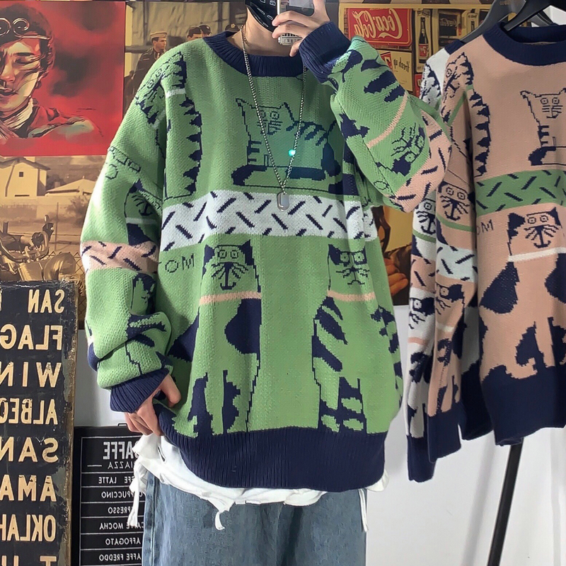 2019 Winter Men's Thickening Cartoon Woolen Pullover Round Neck Knitting Casual Cashmere Sweater Loose 3 Color Coat Size M-2XL