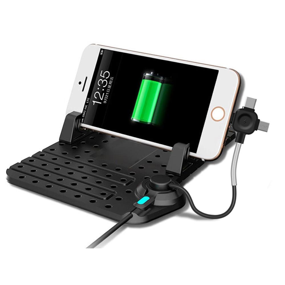 Remax mobiltelefon bilhållare med 3 i 1 magnetladdare USB-kabel för Android usb typ c för xiaomi huawei justerbar konsol