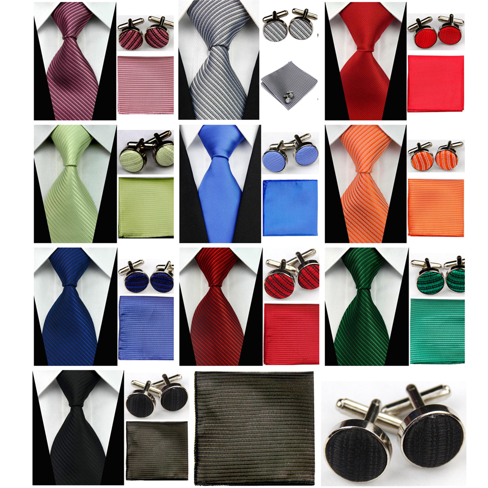 Mens Accessories Solid Striped Slim Business Silk Tie Sets Hanky Handkerchief Cufflinks Necktie Ties For Men Gravatas 3
