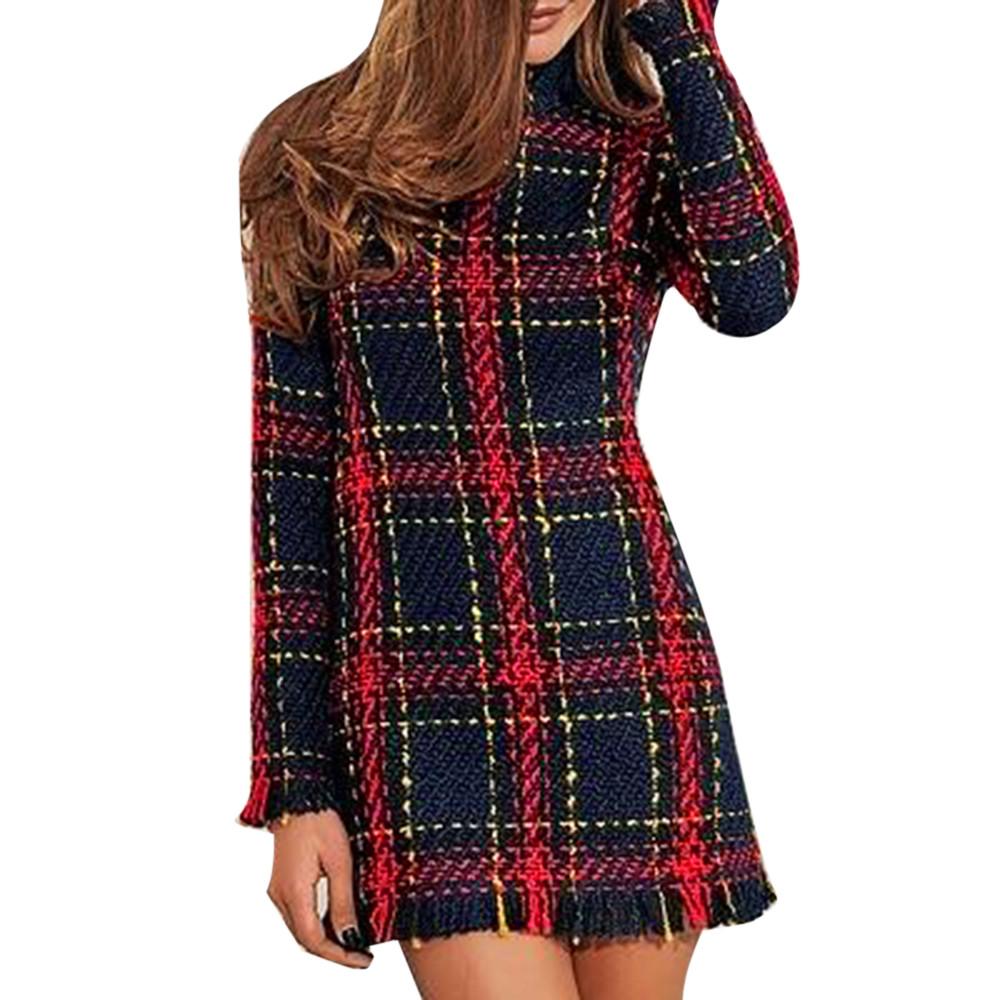 Women Autumn Winter Plaid Sweater High Waist Lattice Dress Long Sleeve Mini Dresses Lady Slim Long Sleeve Bottoming Dress
