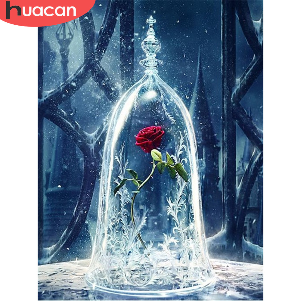 HUACAN Pictures By Numbers Rose Flower HandPainted Coloring Drawing Kits Canvas DIY Home Decor Oil Painting Gift For Living Room