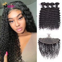 Deep Hair Bundles With Frontal 13×4 Closure With Bundles 100 Malaysia Human Hair Extensions Deep Wave Bundles Remy Hair cheap WOWQUEEN =15 All Colors Permed 3 pcs Weft 1 pc Closure Malaysia Hair
