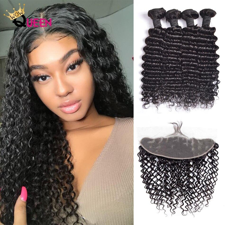 Diepe Golf Bundels 13 × 4 13 × 6 Sluiting Met Bundels 100% Braziliaanse Human Hair Extensions Krullend Haar Bundels met Frontale Remy Haar