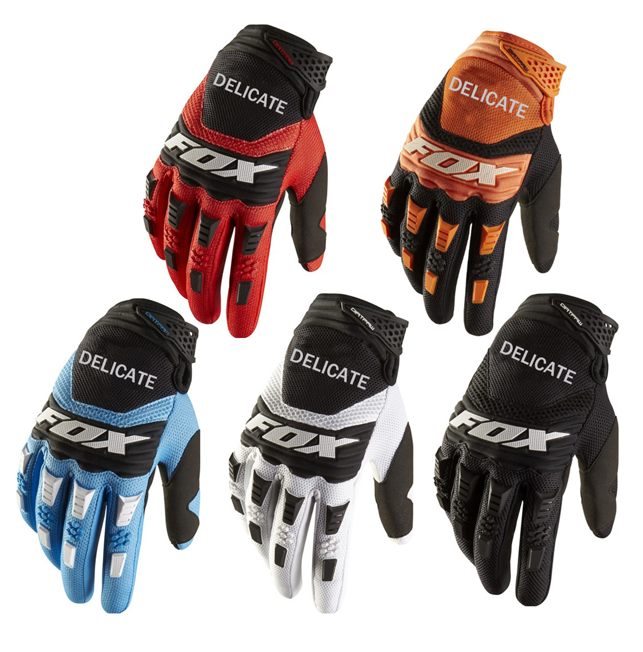 Hot Deal!Delicate Fox Motorcycle MX Pawtector Black Glove Cycling Motor Motocross Adult Gloves