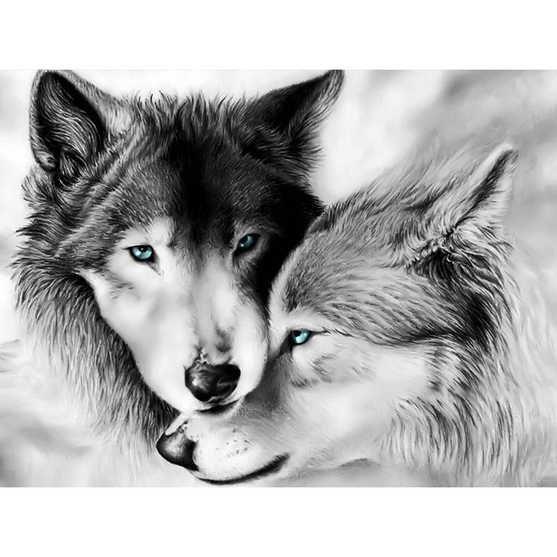 Полный квадратный/Круглый Алмаз 5D алмазная картина DIY Алмазная вышивка волк пара вышивка крестиком Стразы Мозаика Украшение