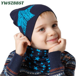 Новая хлопковая одежда для малышей Шапка звезда Цветочный принт теплые Кепки шарф для мальчиков и девочек, для младенцев Шапки комплект осе...
