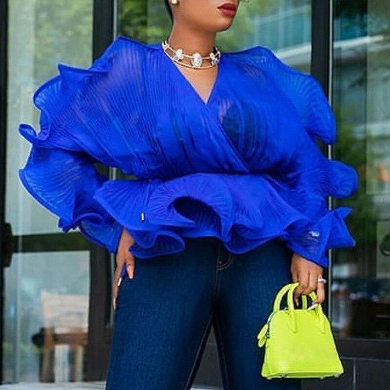Sexy Shirt Blouse Transparent Pleated Ruffles Peplum V Neck Elastic Waist See Through Tops Bluas Large Size Women's Fashion Fall