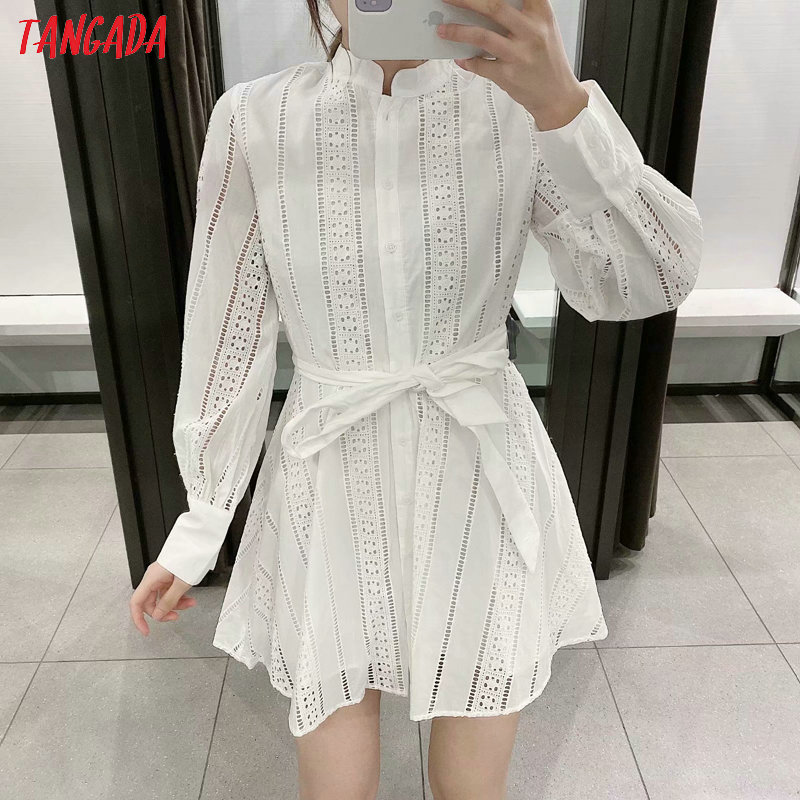 Embroidery Long Sleeve White Shirt Dress 2