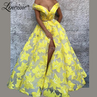 Off Shoulder Yellow Arabic Prom Dresses 2019 Floral Print Long Party Gown Robe De Soiree Dubai Turkish Middle East Evening Dress