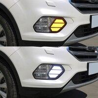 2PCS LED Daytime Running Light For Ford Escape Kuga 2016 2017 2018 2019 Turn Yellow Signal Waterproof Car 12V LED DRL Lamp