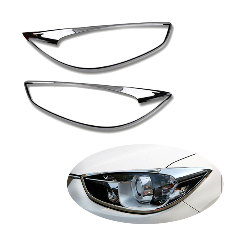 High Quality ABS Chrome For <font><b>Mazda</b></font> CX-5 <font><b>CX5</b></font> 2015 Car Front Headlight Head Lights Lamp Frame Trim Covers Sticker Auto Accessories image
