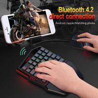블루투스 4.2 무선 키보드 유선 마우스 직접 안드로이드 5.0 또는 ios와 전화/태블릿을위한 PUBG 게임 재생에 연결
