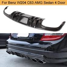 C Класс углеродного волокна задний бампер диффузор спойлер для Mercedes Benz W204 C63 AMG Седан 4 двери 2008-2011 задний диффузор губ