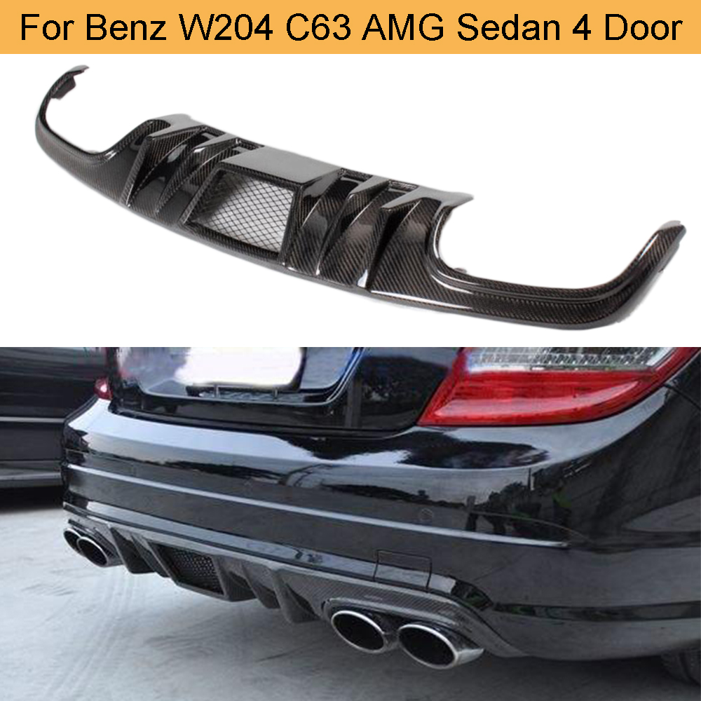 <font><b>C</b></font> <font><b>Class</b></font> Carbon Fiber Rear Bumper Diffuser Lip <font><b>Spoiler</b></font> for <font><b>Mercedes</b></font> <font><b>Benz</b></font> <font><b>W204</b></font> C63 AMG Sedan 4 Door 2008 - 2011 Rear Diffuser Lip image