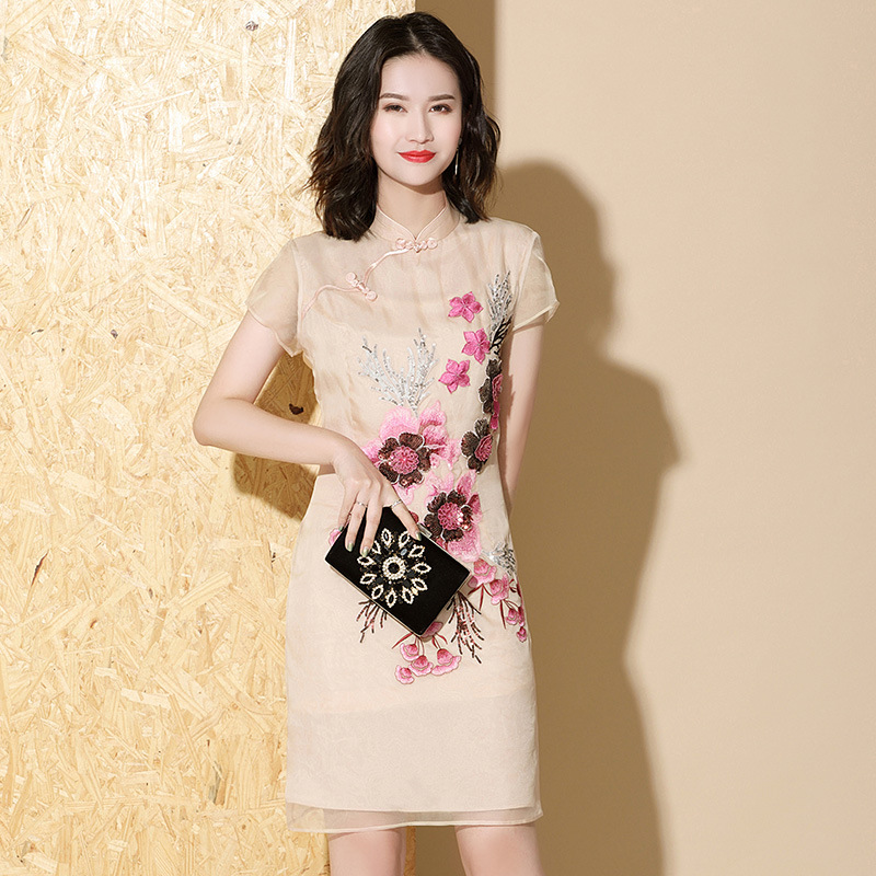 2020 Summer Women Improved Cheongsam Waist Short Sleeve Temperament Chinese Style Long Embroidered Organza Thin Section Dress
