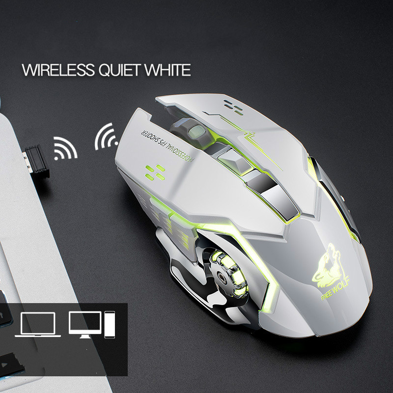 Free Wolf X8 Wireless Charging Game Mouse 2.4Ghz Backlight Mechanical Mute Optical Mouse 6 Button Adjustable DPI For Pc Laptop