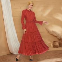 Siskakia Party Dresses Long Fashion Srtand Collar Full Sleev