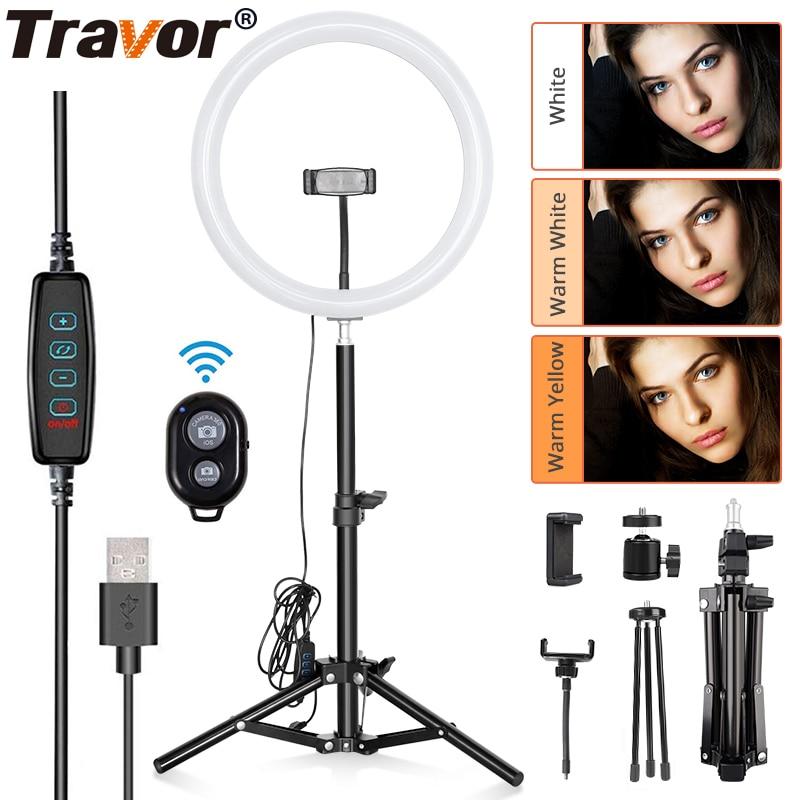 Travor 12 pouces USB anneau lumière réglable bureau anneau lumière 3 Modes de lumière LED anneau lumière pour maquillage youtube avec trépied de 45cm