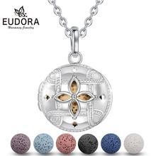 EUDORA 18 mm Felt Ball Lava Stone Aroma Essential Oil Diffuser Necklace Aromatherapy Jewelry Minimalist Rock K366N1