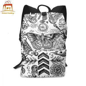 Image 1 - Sac à dos monodirectionnel, tatouage, sacoche sport, imprimé multi poches, pour adolescents, tendance, bonne qualité