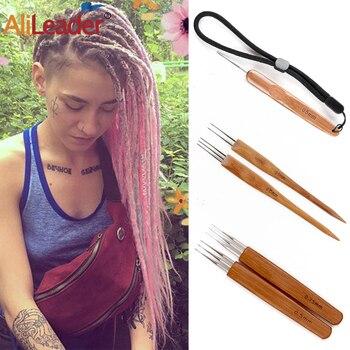 Alileader Hot Selling Crochet Hook Bamboo Handle Hair Dreadlocks Weaving Needle Wig Making Tools For Dreadlock