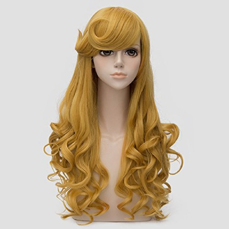 Princess Aurora Wig Long Golden Wavy Styled Bangs Heat Resistant Synthetic Hair Cosplay Costume Wigs + Wig Cap