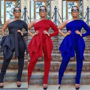 Seksowny kombinezon z jednym ramieniem Bodycon duże liście z paskiem na zamek błyskawiczny kobiety moda elastyczny Romper mocno 2020 wiosna nowy Playsuit