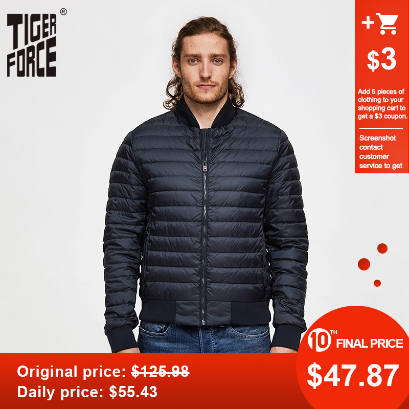 TIGER FORCE Man Jacket Men Bomber Jacket Spring Autumn Baseball Jacket Black Blue Puffy Jacket Light Parka Chaquetas Hombre