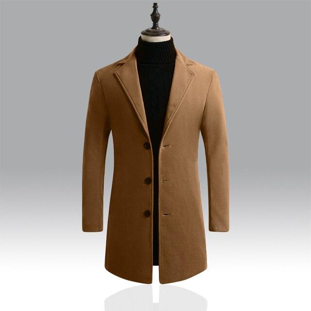 Autumn Winter Mens Brand Fleece blends Jacket Male Overcoat Casual Solid Slim collar coats Long cotton trench coat Streetwear 5