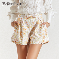 TWOTWINSTYLE Summer Print Women's Shorts Elastic Waist Large Size Short Trousers Female Casual Clothing 2019 Fashion New