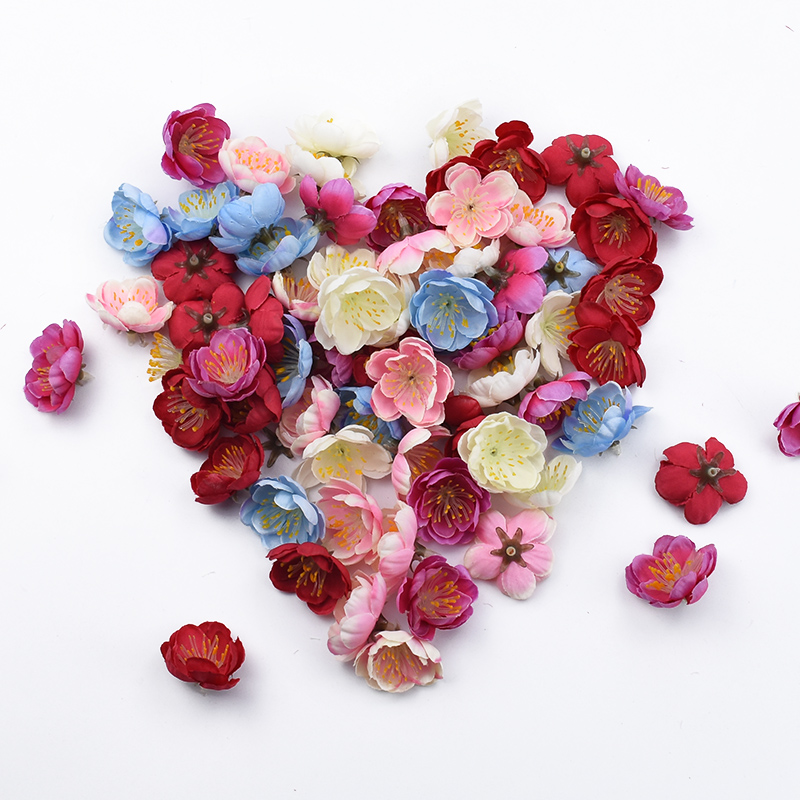 30/50/100Pieces Silk Plum Blossom Decorative Flowers Diy Wedding Gifts Box Christmas Decorations for Home Artificial Plants